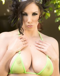 Gorgeous brunette, Jelena Jensen, shows off her incredible big boobs and hot curves in her Sheer see thru bikini. It's like not wearing a bikini