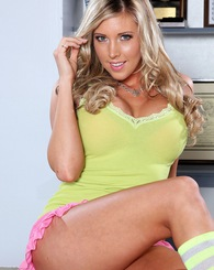 Busty blond babe Samantha Saint get horny and started to get nude.