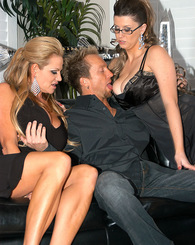 Kelly Madison and Sara Stone have enormous natural tits that Ryan just has to stick his cock between and nut all over.