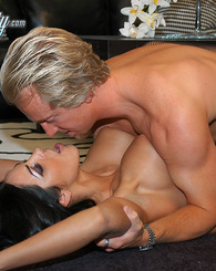 Veronica Rayne rides a big dick and licks up the cum that didn't make it in her mouth.