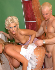 Kelly Madison and Christine Alexis fuck like rabbits in this super hot three-way.