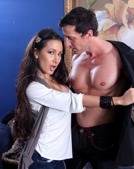 Brunette babe Amia Miley nailed by a big cock.