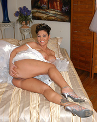 Claire Dames shows what a nasty cock hungry whore she is on her wedding day.