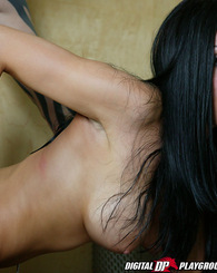 Large tits, dark black hair and a hot horny body get fucked all ways
